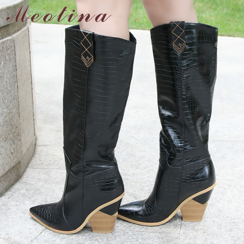 Meotina Winter Embossed Knee High Boots Women Strange Style High Heel Western Boots Pointed Toe Tall Shoes Autumn Gold Size 3-12