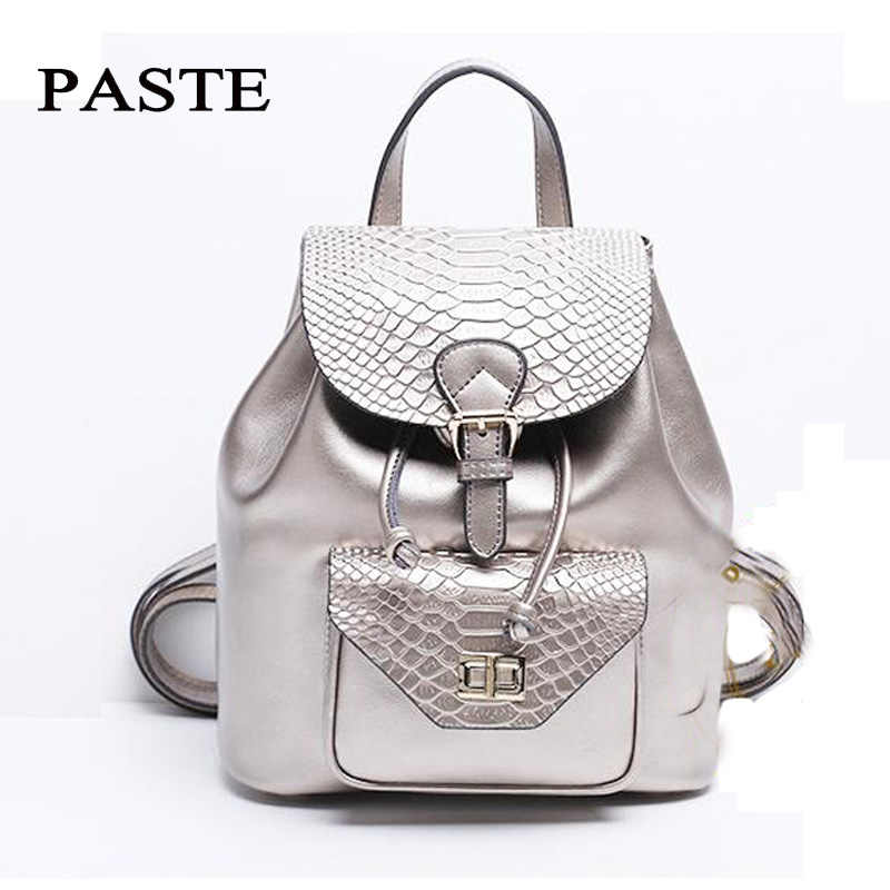 aaef16e16645 Luxury Silver Crocodile Pattern Cowhide Leather Backpack Women Fashion  Double Shoulder Bag Magnetic Buckle College School