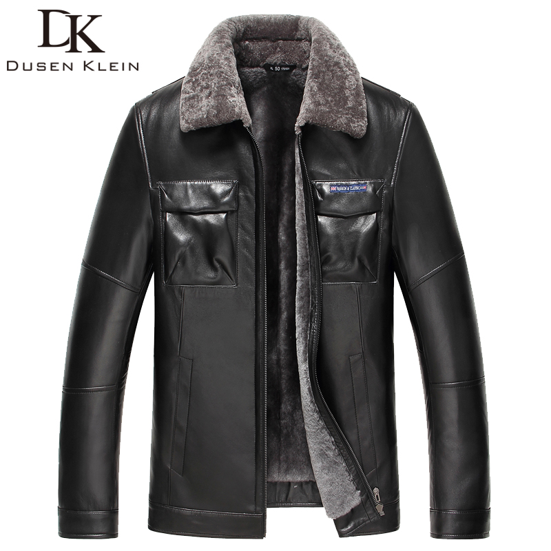 2017 New Brand wool jacket Men Nature Leather Winter Coat Luxury Woolen Liner Sheepskin Black/Slim motorcycle outwear 61J5832