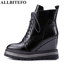 ALLBITEFO natural genuine leather wedges heel women ankle boots fashion casual platform boots winter woman motorcycle boots