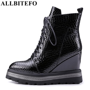 Image 1 - ALLBITEFO natural genuine leather wedges heel women ankle boots fashion casual platform boots winter woman motorcycle boots