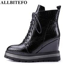 ALLBITEFO naturalne prawdziwej skóry kliny szpilki kobiety botki moda na co dzień platformy buty zimowe damskie buty motocyklowe