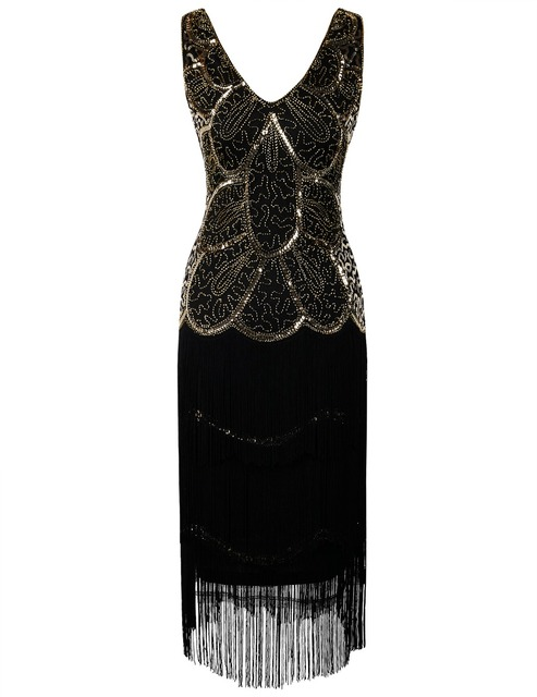 PrettyGuide Women\'s Flapper Gown Art Deco Sequin Fringed 1920s ...