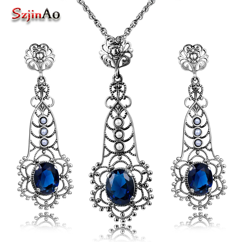 Szjinao Women 925 Sterling Silver Vintage Jewelry Set Party Pearl Charm Blue Stone Crystal Pendant Earrings Sets body jewelry все цены