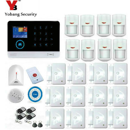 YoBang Security WiFi GSM Touch Screen Home Security Alarm,Intruder Protection Wireless PIR Motion Sensor Smoke Detection Alarm.
