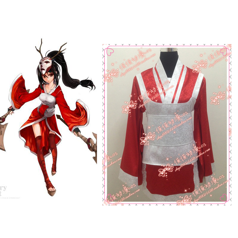 2016 LOL Akali Cosplay Uniform Suit Costume Full Set Women's Sexy Kimono halloween PARTY costumes Custom-made