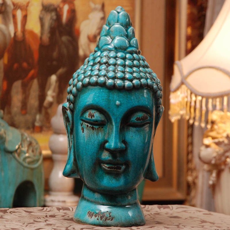 Shakya Muni Buddha first resin Mediterranean old crack ceramic blue Buddha head Home Furnishing feng shui ornaments