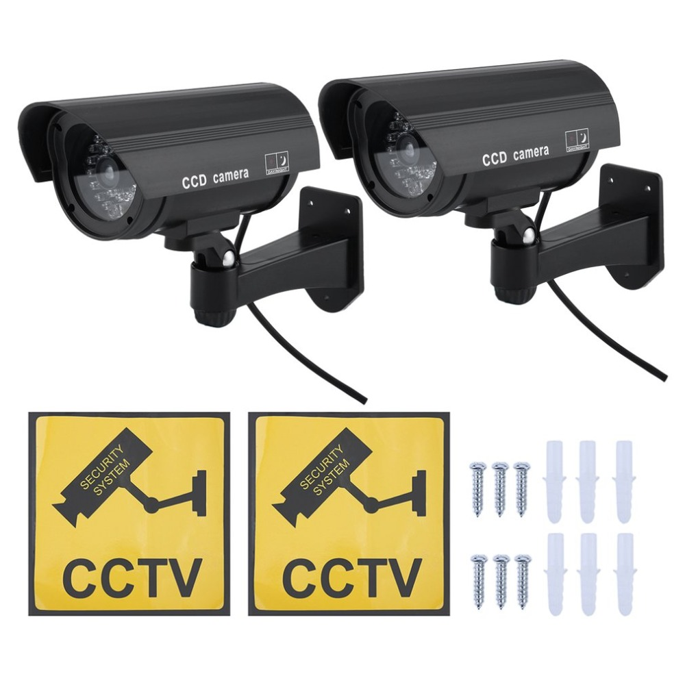 2PCS Waterproof Outdoor Indoor Home Security Guard Dummy CCD Camera Simulation Surveillance Camera Built In LED Flashing Light2PCS Waterproof Outdoor Indoor Home Security Guard Dummy CCD Camera Simulation Surveillance Camera Built In LED Flashing Light