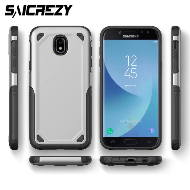 wholesale dealer bae63 c83a2 US $3.69 24% OFF|Luxury Slim Armor Hybrid TPU + Hard Protective Case for  Samsung Galaxy J3 J5 J7 Pro 2017 Shockproof Phone J4 J6 2018 Back Cover-in  ...