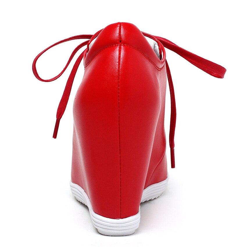 Hauteur blanc 40 Véritable La Croissante Plates Noir Taille 34 Cales Femmes Mocassins De Marche Chaussures Wedge Cuir Plus En rouge Casual Appartements 1xEqUP