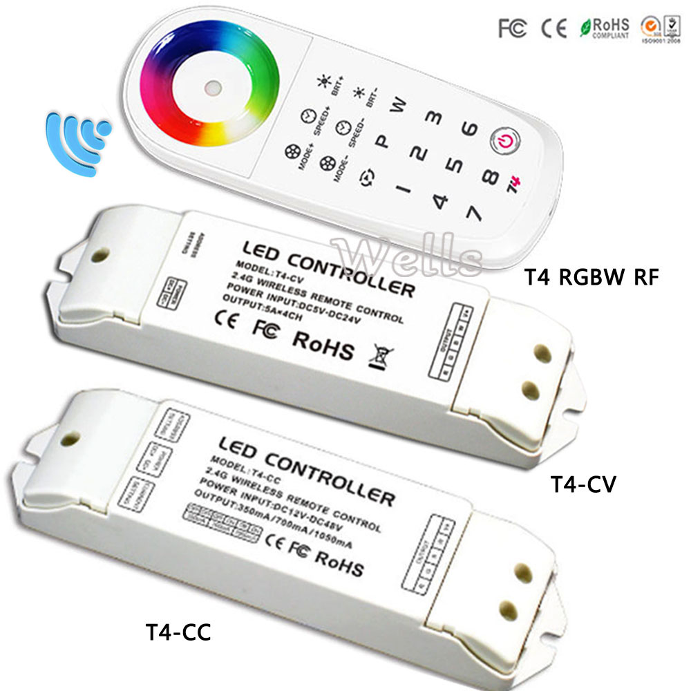 T4-CV/T4-CC receiver;LED RGBW Controller T4 2.4G Remote 8 Zone Wireless Sync/zone RGBW Controller for RGBW led strip t4 cc receiver controller 2 4g wireless remote constant current led current suitable for t4 remote control free shipping