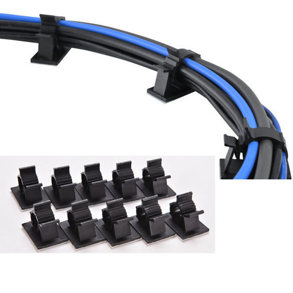 10PCS 13mm Black Adhesive Backed Nylon Wire Adjustable Cable Clips Clamps
