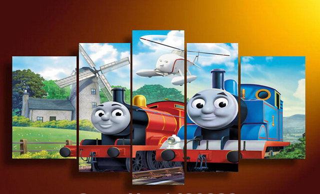 Framed Art Printed Cartoon Thomas Train Group Painting Children S Room Decoration Print On Canvas Free Shipping