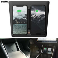 Wireless Charger Board Edition Mobile Auto Accessories Fast Charging Secure Dual USB Port for Tesla Model 3 IPhone Samsung