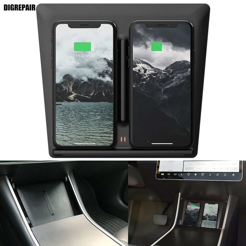 Wireless Charger Board Edition Mobile Auto Accessories Fast Charging Secure Dual USB Port for Tesla Model 3 IPhone SamsungWireless Charger Board Edition Mobile Auto Accessories Fast Charging Secure Dual USB Port for Tesla Model 3 IPhone Samsung