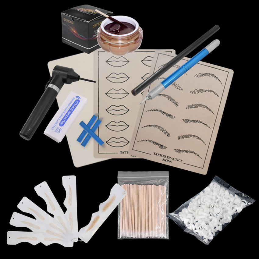 Permanent Makeup Kit Tattoo Manual Pen Practice Skin Ink Mixer Microblading Needles Eyebrow Pencil Ruler Set Beginners Practice 2pcs blue silicone permanent makeup eyebrow tattoo practice skin practice skin for microblading tattoo machine