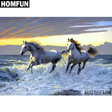 HOMFUN Full Square/Round Drill 5D DIY Diamond Painting Seaside horse Embroidery Cross Stitch 5D Home Decor Gift A01229 homfun 5d diy diamond painting full square round drill seaside scenery embroidery cross stitch gift home decor gift a08372
