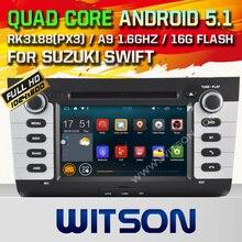 Witson android 5.1 quad-core gps dvd del coche para suzuki swift pantalla táctil capacitiva de 1024*600 HD 16 GB Rom Enlace Espejo Libre gratis