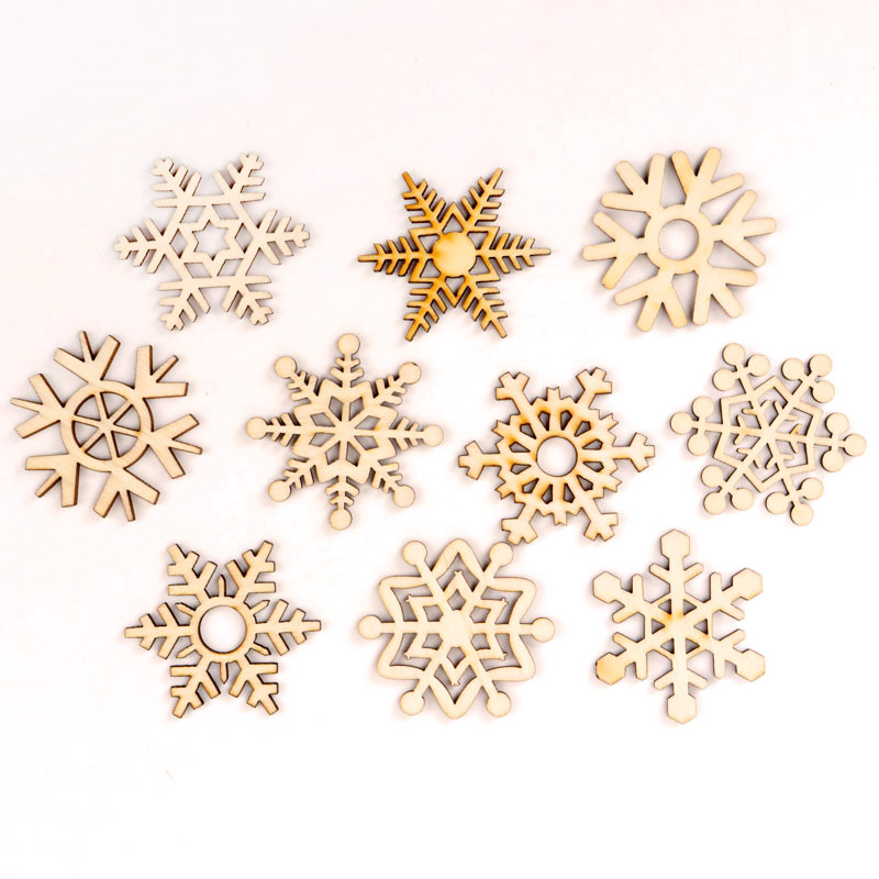 Christmas Snowflake Pattern Wooden Scrapbooking Collection Craft Handmade DIY Accessory Home Decoration DIY 50mm 10pcs