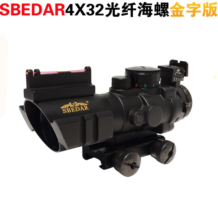 Tactical 4X32 RGB Prismatic Rifle Scope Red Dot Tri-illuminated Fiber Optic Green Sight for Hunting Equipment 20 mm rail