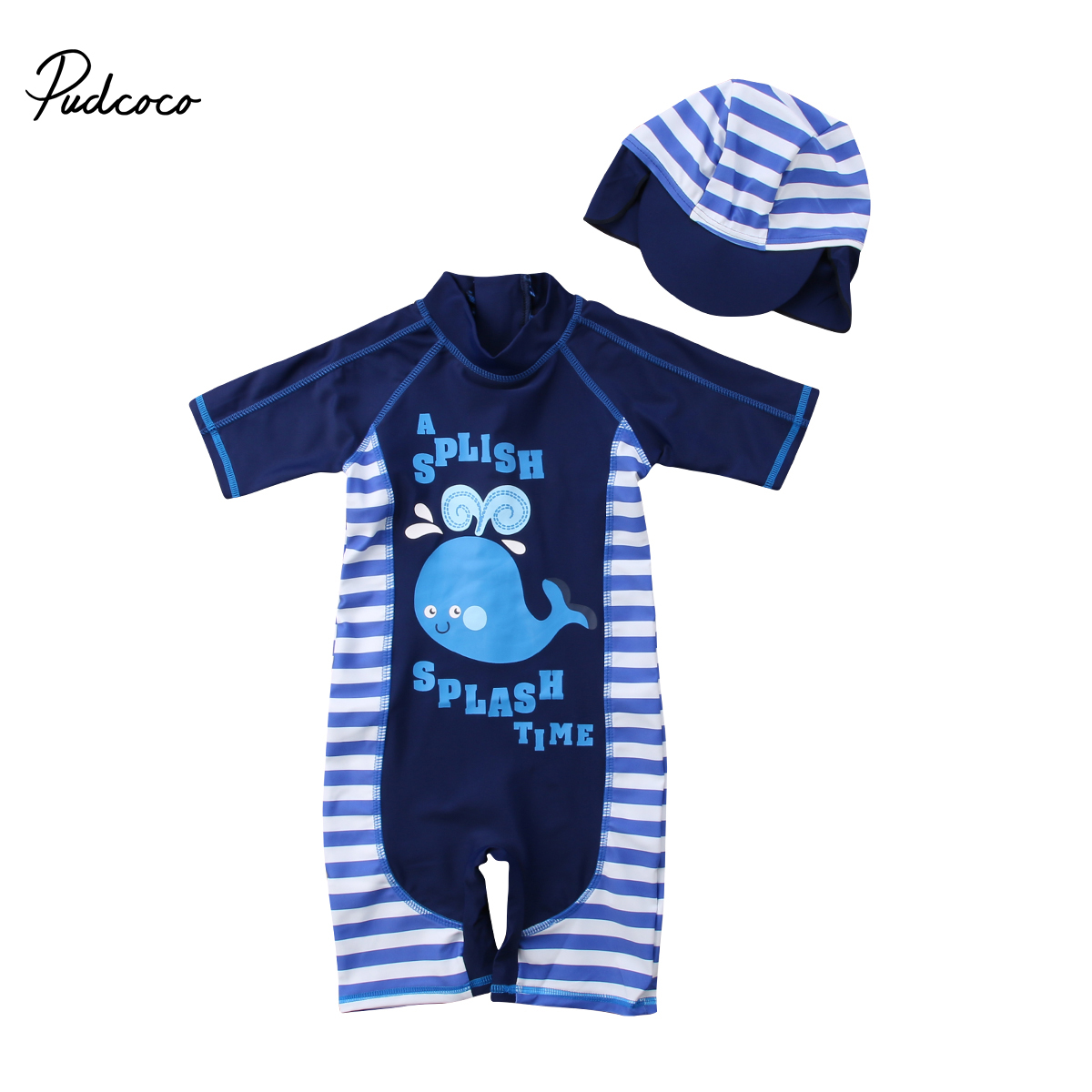 Baby Boy Girl Rash Guard Set Toddler Kid Short Sleeve Zip Sun Protection One Piece Swimsuit with Sun Hat