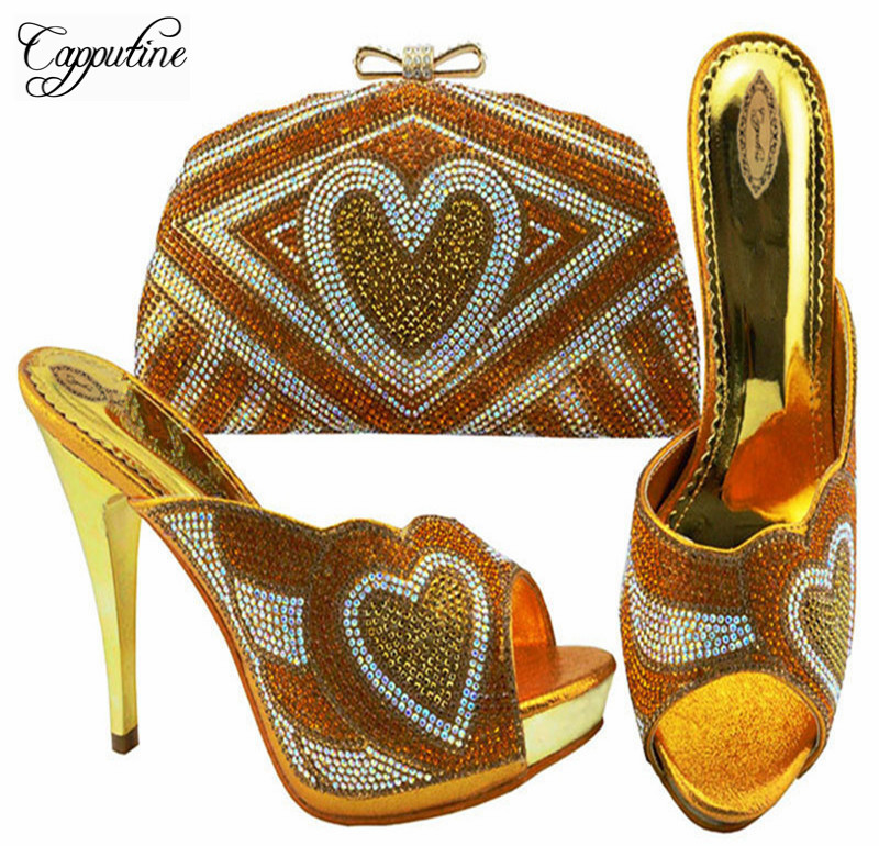 2018 New Africa Degsin Rhinestone Shoes And Matching Bag Set Summer Elegant High Heels Pink Shoes And Bags Set For Party ZC005 itlian style rhinestone slipper shoes and matching bag set new africa high heels shoes and bag set for party size 38 43