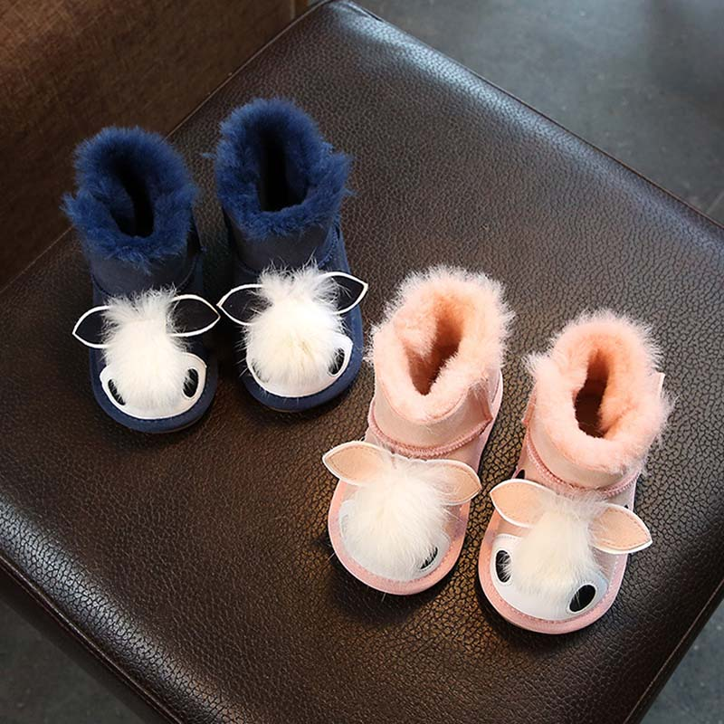 Winter Warm New Children's Shoes Boys And Girls Baby Cute Animal Decorative Cotton Shoes Sheep Fur One Anti-Skiing Snow Boots 2018 new girls fur one snow boots winter 2018 new children s net red children s shoes parent child warm cotton shoes lace
