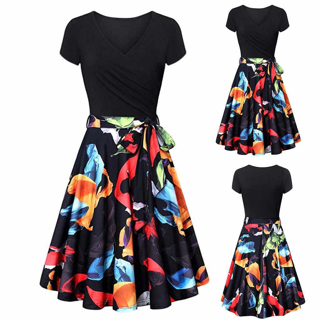 Летнее платье элегантные женские короткий рукав платья с перекрестными лямками Винтаж элегантный flared-линии синие платья вечерние Ночное Платье vestidos Новый