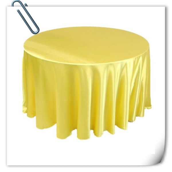 Hot Sale !!! Yellow 90inch 10pcs Satin table cloth for weddings parties hotels restaurant Free Shipping