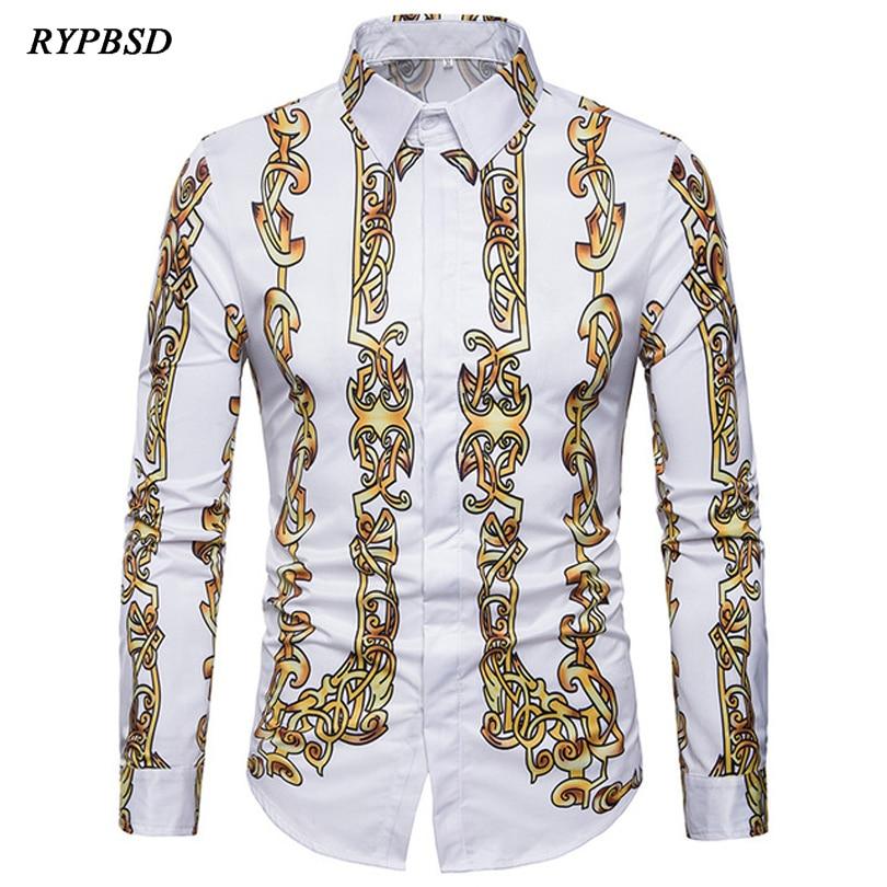Luxury Shirts Men Casual Printing Social Shirts Men Fashion Design Large Size Long sleeved Turn down Collar Mens Gold Shirt