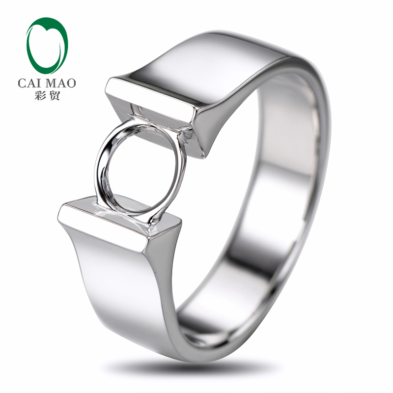 Caimao 6mm Round Cut Semi Mount Setting Ring 18K White gold Engagement JewelryCaimao 6mm Round Cut Semi Mount Setting Ring 18K White gold Engagement Jewelry