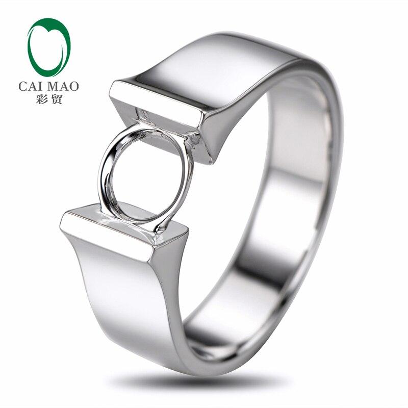 Caimao 6mm rond coupe Semi monture bague de réglage 18 K or blanc bijoux de fiançailles