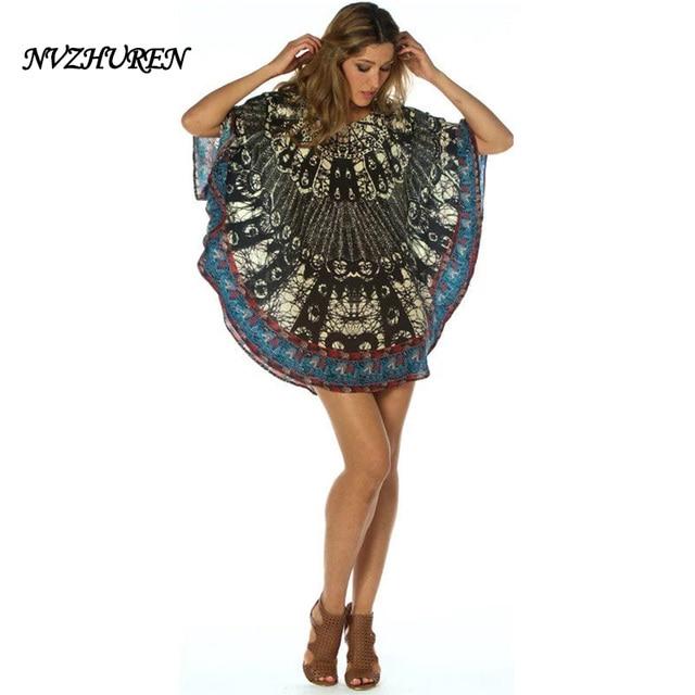 NVZHUREN femmes robe d\u0027été plage robe Style baroque imprimer mousseline de  soie robe boho