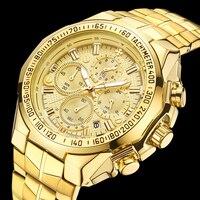 Wwor/для мужчин часы хронограф Спорт для мужчин s часы лучший бренд класса люкс водостойкий полный сталь Кварцевые Золотые часы для мужчин