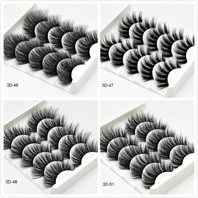 5 Pairs Luxurious Mink Hair False Eyelashes Thick Curled Full Strip Lashes Eyelash Extension Fashion Women Eyes Natural Makeup