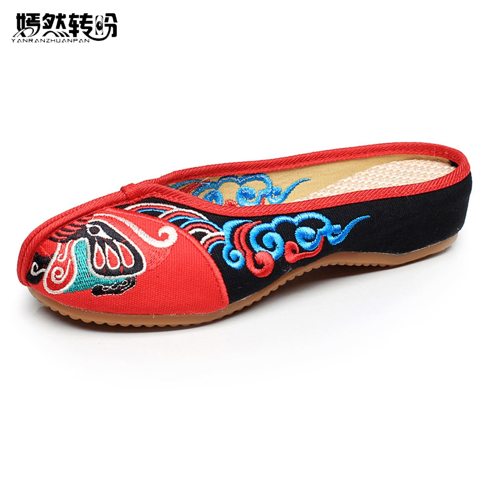 Ethnic Flats Shoes Women Old Peking Slippers Chinese Peking Opera Embroidery Soft Sole Casual Sandals Shoes Flip Flops 34-41 weowalk 5 colors chinese dragon embroidery women s old beijing shoes ladies casual cotton driving ballets flats big size 34 41