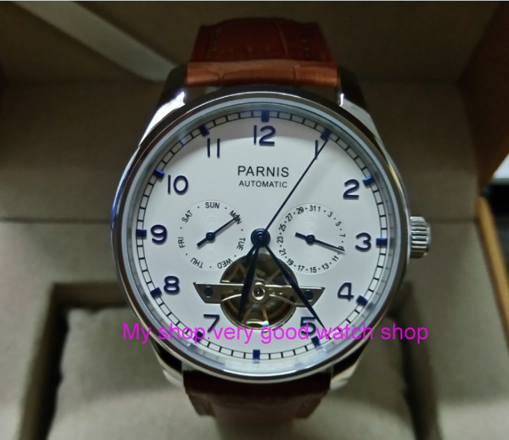 43mm PARNIS Automatic Self-Wind Mechanical movement mens watche multifunction Auto Date and Automatic week zdgd161a43mm PARNIS Automatic Self-Wind Mechanical movement mens watche multifunction Auto Date and Automatic week zdgd161a