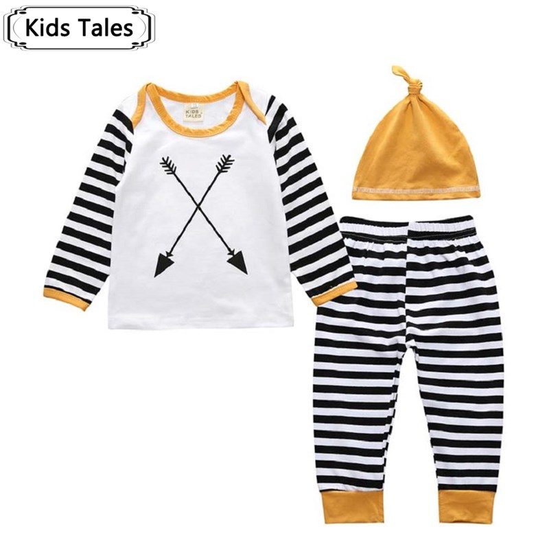 3 pcs Newborn Baby Boys Girls Clothing Upper long-sleeved cotton T-shirt +striped trousers + Hat Set Outfit Clothes Fall SY205