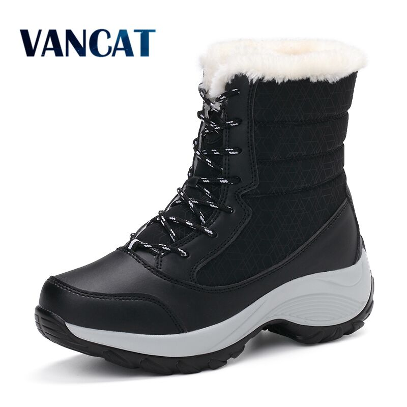 VANCAT Women Snow Boots Winter Warm Boots Thick Bottom Platform Waterproof Ankle Boots For Women Thick Fur Cotton Shoes Size 41