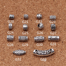 10pcs Antique Tibetan Silver Carved Tube Spacer Beads Fits European Charms Bracelet DIY Jewelry Making Findings Z85