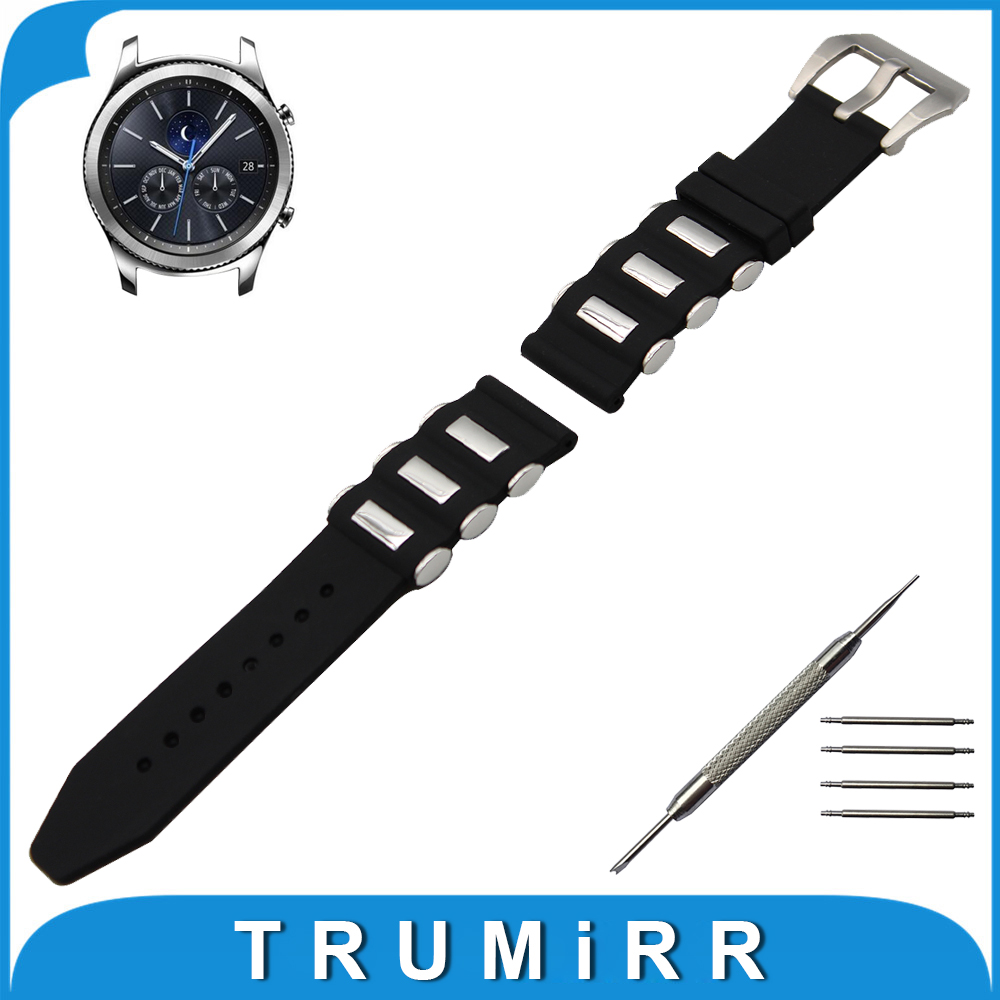 Prix pour 22mm Montre En Caoutchouc de Silicone Bande pour Samsung Gear S3 Classique/Frontière En Acier Inoxydable Pré-v Fermoir Bracelet Poignet ceinture Bracelet