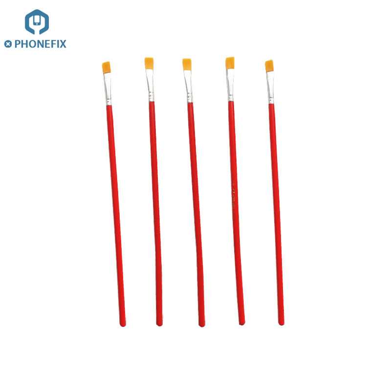 5pcs/lot Soft Cleaning Brush Soldering Repair Brush Set With Wooden Handle Cleaning For Mobile Phone PCB Repair Hand Tools