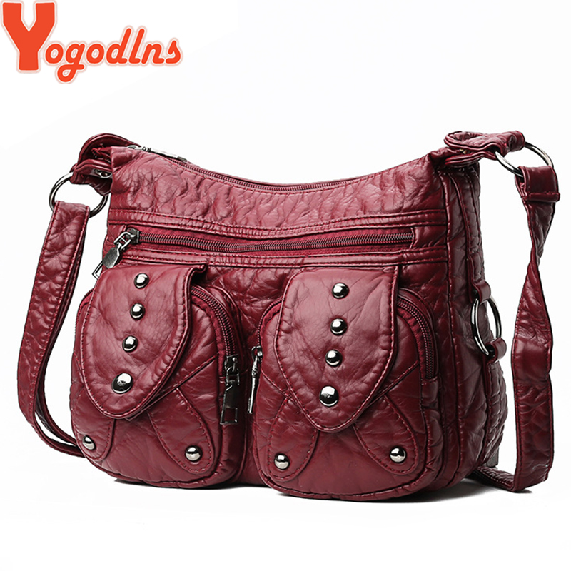 Yogodlns Soft Messenger Bag Women Washed PU Leather Rivet Portable Crossbody Shoulder Bags Middle Age Female Handbag Borsa(China)