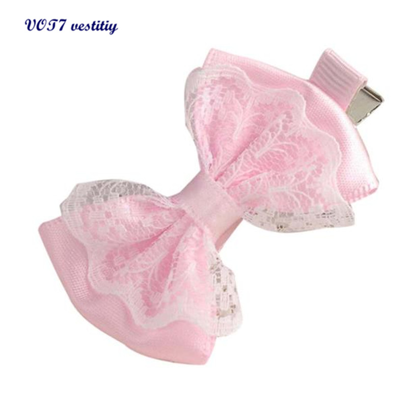 Free shipping VOT7 vestitiy 2017 fashion women Cute Lace Bowknot Hair Clips Baby Girl Hairpin Child Hair Accessories Oct 10 cute sequins pentagram hair clips baby girl hairpin child hair accessories