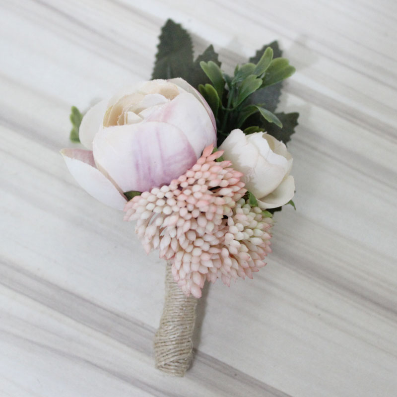 1 Pieces Buttonhole Boutonniere Groom Groomsman Best Man Artificial ...