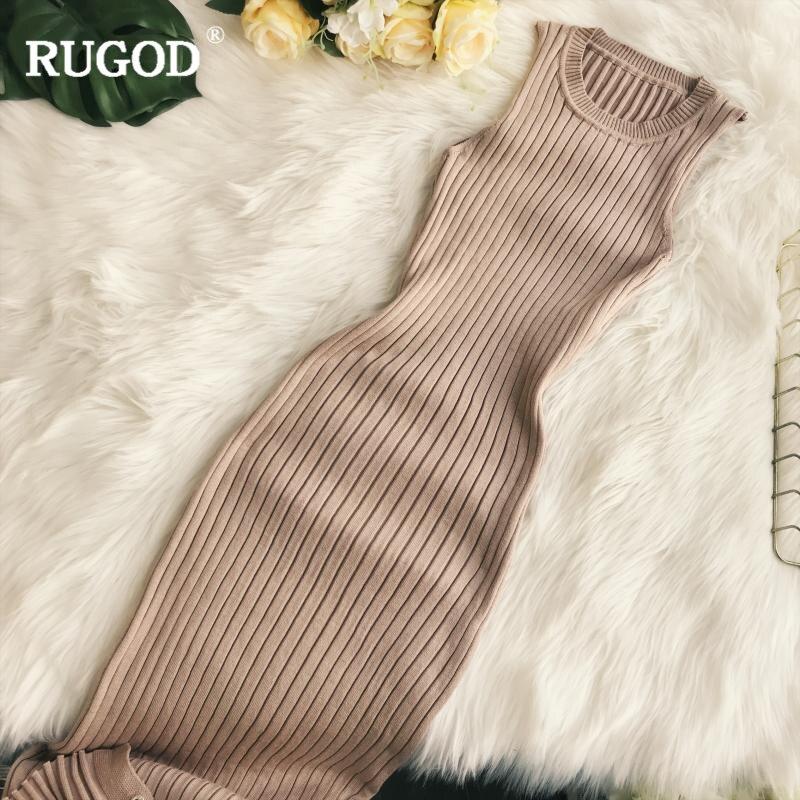 RUGOD nouvelle robe sans manches femmes Sexy moulante robe solide o-cou chaud hiver robe pour femme femmes vêtements pull femme hiver