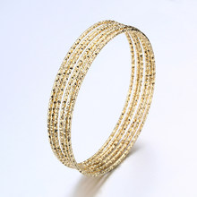 6PC/SET Trendy Gold Silver Plated Bangles Bracelets For Women 70mm Big Circle Metal Wire Indian Bangle Jewelry Party Gifts(China)