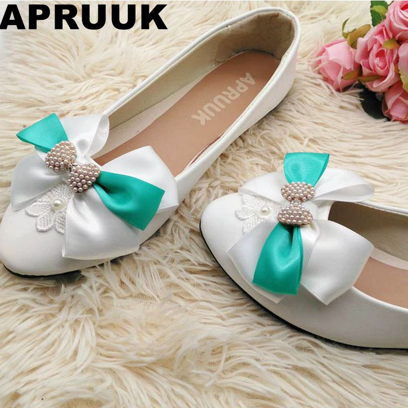 Green butterfly-knot flats shoes woman fashion casual shoes spring autumn  flower girl bridal bridesmaid bow wedding flats shoes 0e1a18ff59c6
