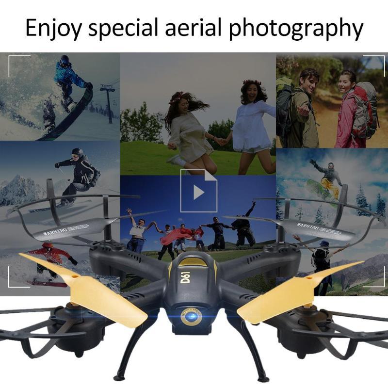 D61 télécommande Drone LED avec caméra 2.4G 4CH WiFi RC quadrirotor 6 axes Gyro sans tête Mode de maintien d'altitude