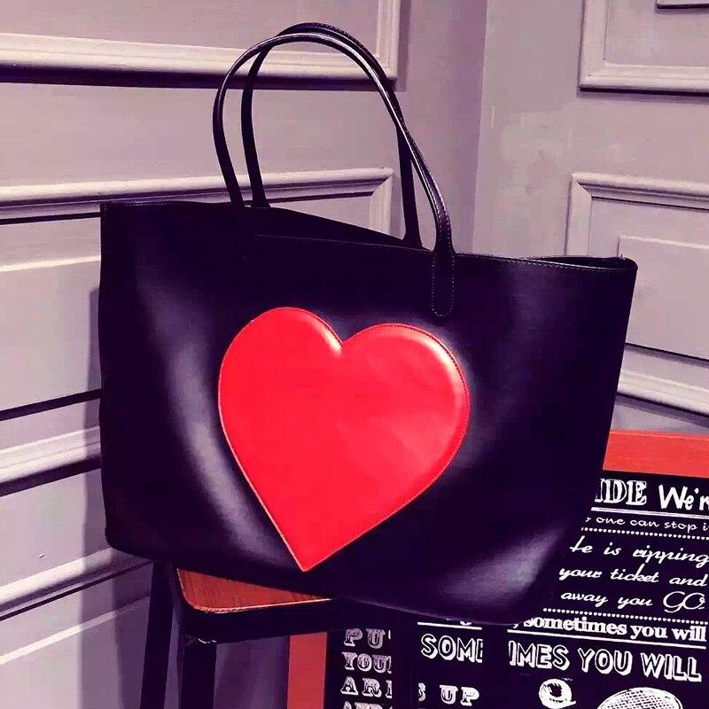 pu leather black composite font b bag b font handbag for women big jumbo font b